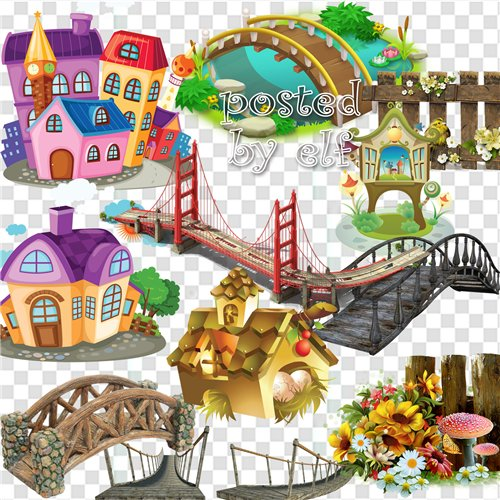 clipart free png Bridges, buildings, fences