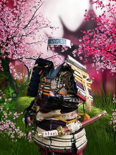 Children's template for Photoshop - In the costume of the Samurai
