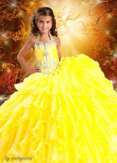 Wonderful children's patterns - Elegant yellow dress for a princess