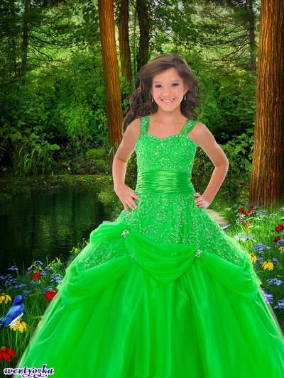 Child's psd template - Girl in a bright green dress as if a forest princess