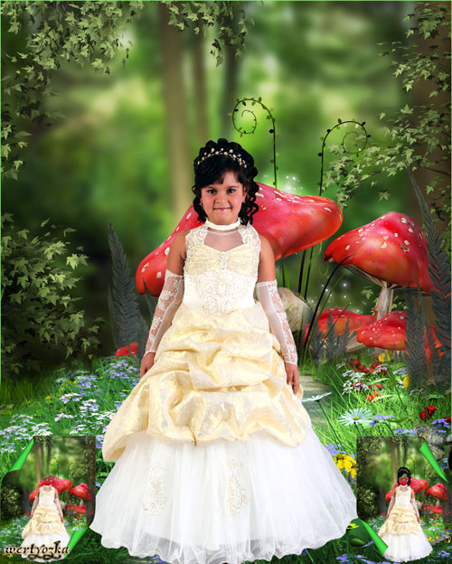 Child's psd template - Charming girl in a good-looking dress and magic forest