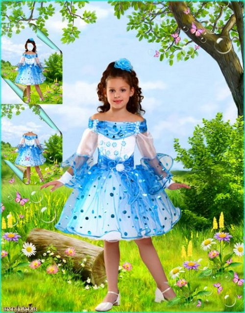 Child's psd template - Girl in a blue dress on a floral glade