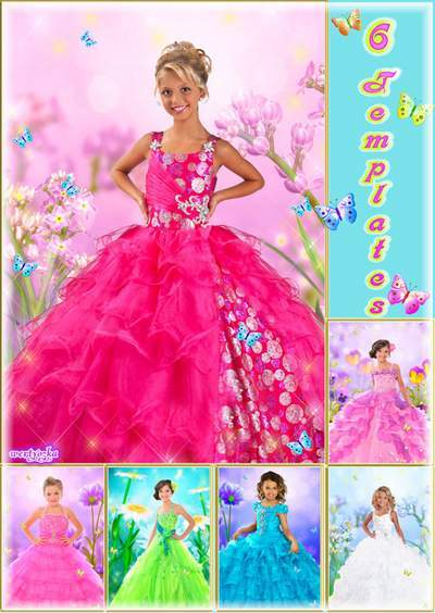 Multi-layered child's psd template - Most chic ball-dresses for a girl