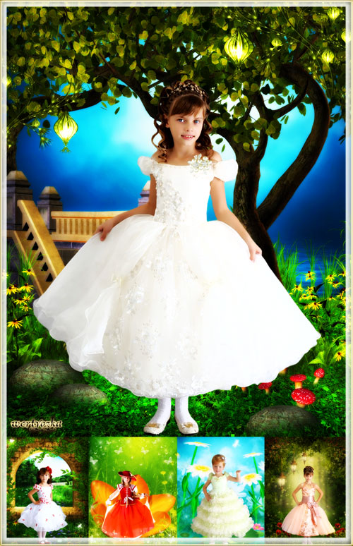 Collection of child's templates for a girl - Charming little princesses in wonderful good-looking dr