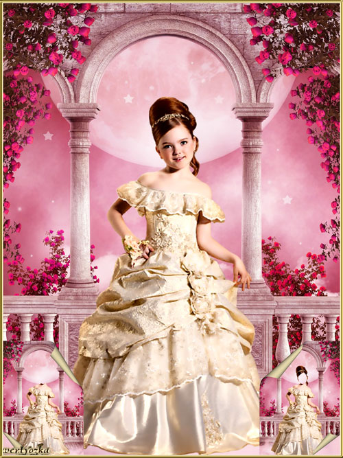 Multi-layered child's psd template - Little princess among the roses of cherry blossom