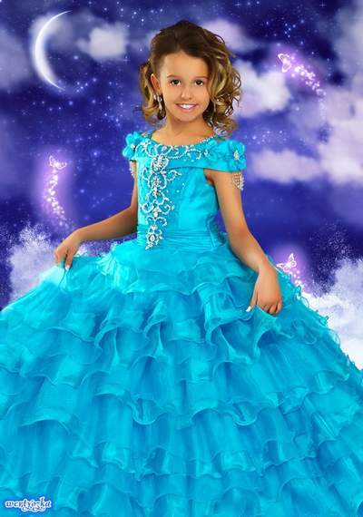 Child's psd template - Little princess in a magnificent blue dress