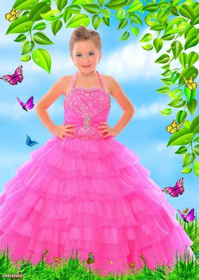Child's template - Girl in a pink good-looking dress among wonderful butterflies