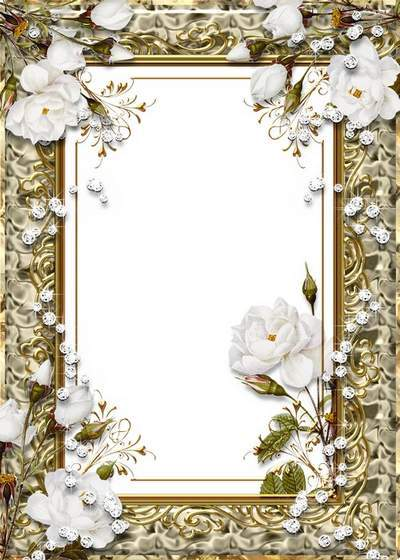 Free Frame for Photoshop - Golden with roses free download