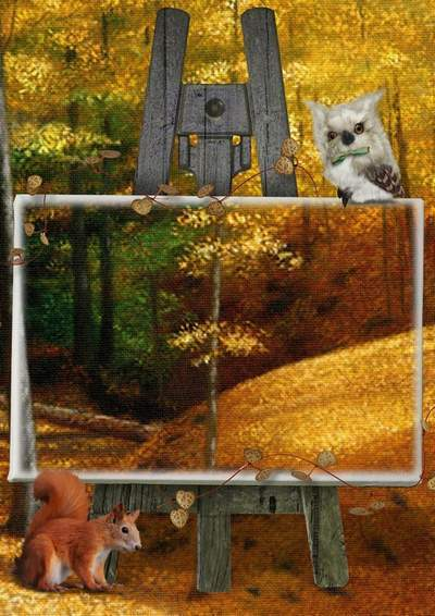 Photo frame for Photoshop - Golden Autumn