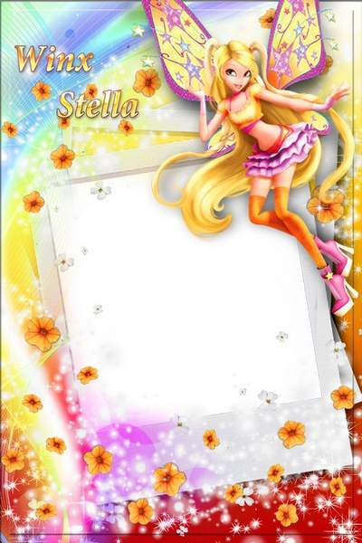 Baby photo frame with witch Winx - Stella