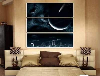 Modular painting Triptych psd Night city, planet, starry sky free download