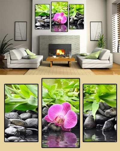 Orchids, stones, water - Modular painting Triptych psd free download