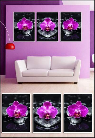 Orchids on stones - Triptych psd Modular painting free download