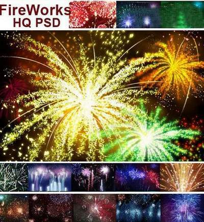 PSD Clipart Fireworks and salute free download