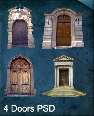 4 PSD Doors Clipart for Photoshop free download