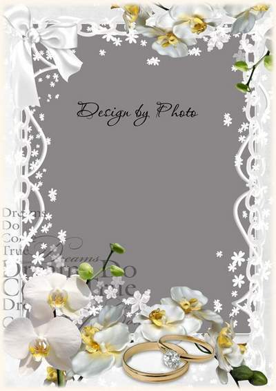 Wedding Photoshop frame PSD template white Orchid wedding free download