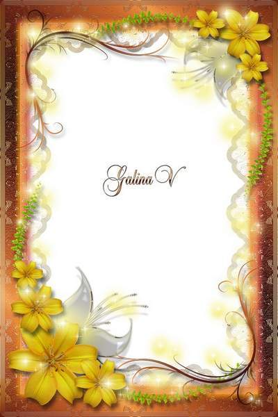 Flower Frame psd png Sunny Lilies, golden shine free download