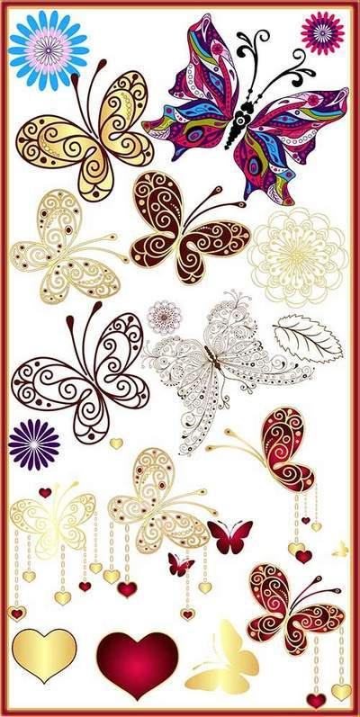 Butterflies Clipart PSD on transparent background free download