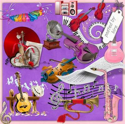 Music Clipart 192 PNG images Musical instruments, music clusters, notes, players, free download