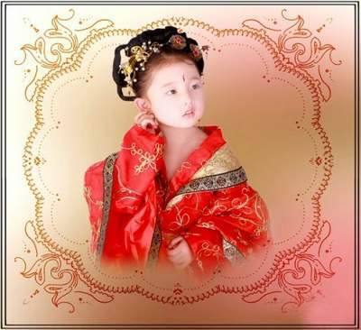 Children's template for photoshop - Chinese outfit for a princess