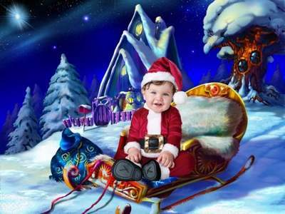 Children's template for Photoshop - Christmas mood