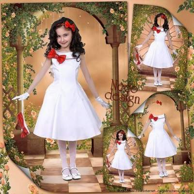 Template for a girl with a white dress with red trim and a red bow - Fashion-monger