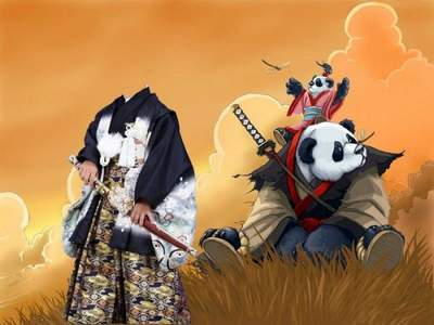 Children's template for Photoshop - Happy Samurais