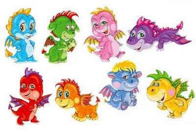 Toys Clipart in Psd - Small dragons