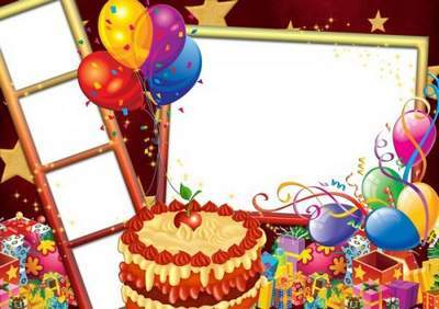 Frame for photoshop - Cheerful birthday