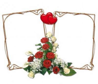 PSD Frame cutouts of flowers and hearts for Valentine