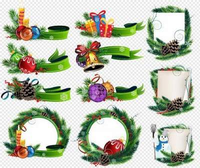 Christmas Clipart Psd - Christmas ribbon and canvases psd free download
