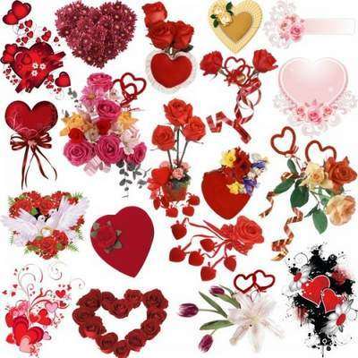 Clipart psd hearts and flowers free download