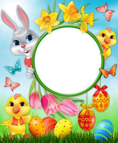 Greeting children's Easter frame - Happy Easter, baby! free download