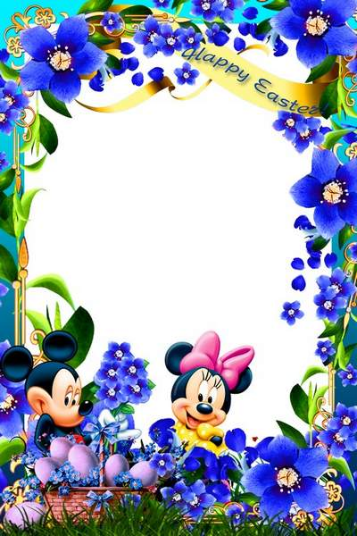 Children's Easter frame psd with Mickey Mouse free download