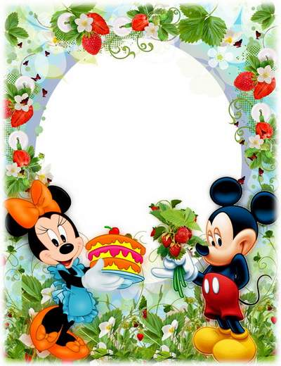 Floral berry BABY photo Frame psd Strawberry free download