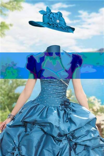 Lady in blue dress Photoshop free psd template free download