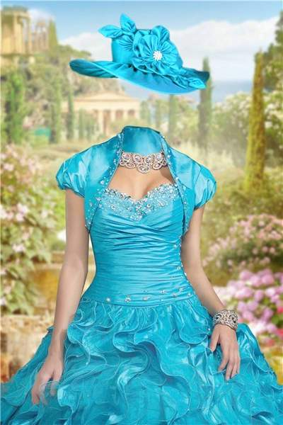 Lady in the turquoise dress Photoshop freу psd template download