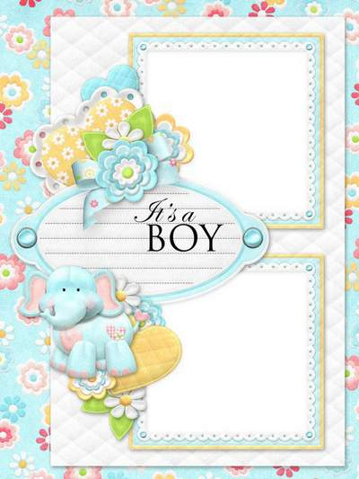 Baby boy frame + Baby girl frame for two photos with elephant and hippo free download
