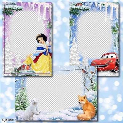 Kids Winter picture frames 3 psd + 3 png with cartoon heroes disney free download