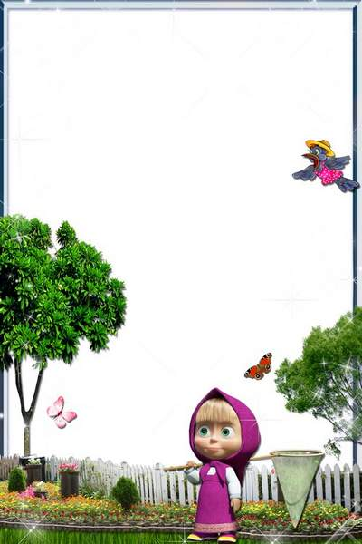 Kid's Frame with Heroes of Cartoon Films - Masha and butterflies
