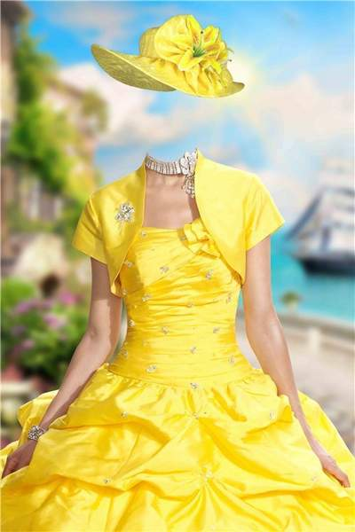 Free psd template for Photoshop lady in a yellow dress download