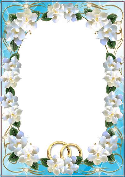 Wedding photo frame - White flowers free download