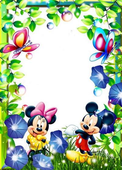 Three children's frames with cartoon characters On forest glade