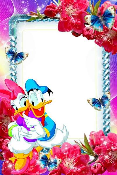 Kids funny frame psd with Donald duck download