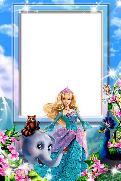 Kids frame for Photoshop with Barbie download