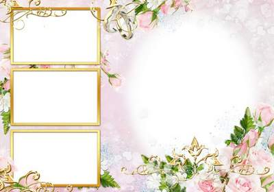 Stylish wedding collage frame for four photos - Pink glitter