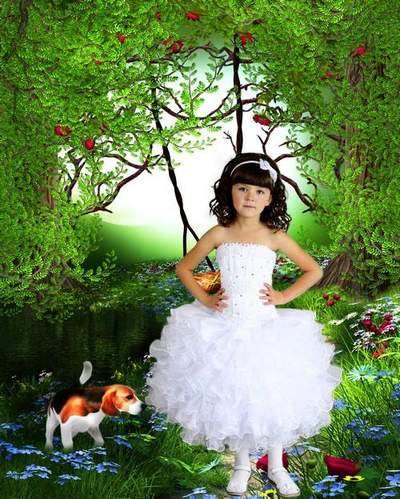 Child's psd template - Girl in the white good-looking dress of little doggy