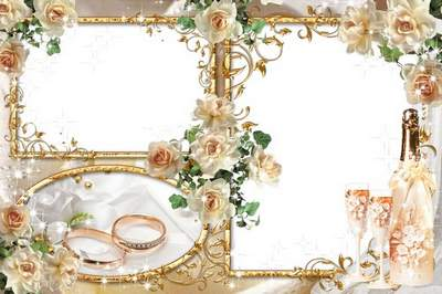 Two wedding frame for the photo - Tea roses