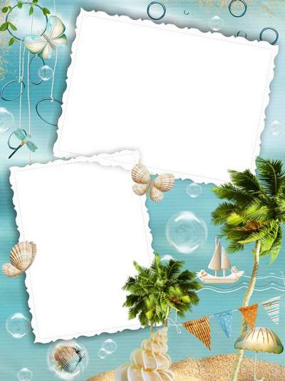 Free psd + free png Photo Frame download - Sea, palm trees and sand