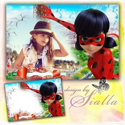 Kids free photo frame for girls download -  Ladybug and I